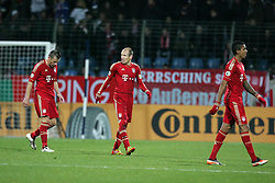 20.12.2011, Rewirpowerstadion, Bochum, GER, DFB Pokal, Achtelfinale, Vfl Bochum vs FC Bayern Muenchen, im Bild von links: Ivica Olic (Muenchen #11), Arjen Robben (Muenchen #10) und Jerome Boateng (Muenchen #17) entaeuscht/ entäuscht/ traurig // during the Round of last sixteen from GER Vfl Bochum vs FC Bayern Muenchen, on 2011/12/20, Rewirpowerstadion, Bochum, Germany. EXPA Pictures © 2011, PhotoCredit: EXPA/ nph/ Mueller..***** ATTENTION - OUT OF GER, CRO *****