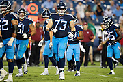 NASHVILLE, TN - AUGUST 17:  A.T. Hall #73 of the Tennessee Titans jogs onto the field during a game against the New England Patriots during week two of the preseason at Nissan Stadium on August 17, 2019 in Nashville, Tennessee.  The Patriots defeated the Titans 22-17.  (Photo by Wesley Hitt/Getty Images) *** Local Caption *** A.T. Hall