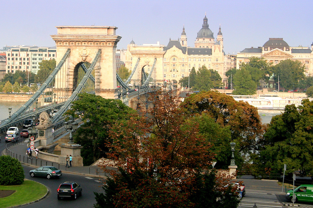 Széchenyi Chain Bridge (Lánchíd), designed by English engineer William Tierney Clark in 1839, Budapest, Hungary