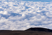 A sea of clouds below the summit of Mauna Kea, The Big Island, Hawaii USA