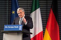 09 NOV 2017, BERLIN/GERMANY:<br /> Antonio Tajani, Praesident des Europaeischen Parlaments, haelt die 8. Europa-Rede, ein Kooperationsprojekt der Konrad-Adenauer-Stiftung, der Schwarzkopf-Stiftung Junges Europa, der Stiftung Zukunft Berlin und der Mercator Stiftung, Allianz Forum<br /> IMAGE: 20171109-01-100<br /> KEYWORDS: Europarede