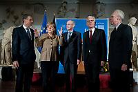 """09 NOV 2010, BERLIN/GERMANY:<br /> Dieter Berg, Vorsitzender der Geschaeftsfuehrung Robert-Bosch-Stiftung, Angela Merkel, CDU, Bundeskanzlerin, Herman Van Rompuy, Ratspraesident der Europaeischen Union, Dr. Hans-Gert Poettering, MdEP, Vorsitzender KAS, und Volker Hassemer, Vorstandsvorsitzender der Stiftung Zukunft Berlin, (v.L.n.R.), """"Die Europa Rede"""", Veranstaltung der Konrad-Adenauer-Stiftung, der Robert-Bosch-Stiftung, der Stiftung Zukunft Berlin, Pergamon Museum<br /> IMAGE: 20101109-02-024<br /> KEYWORDS: Hans-Gert Pöttering"""