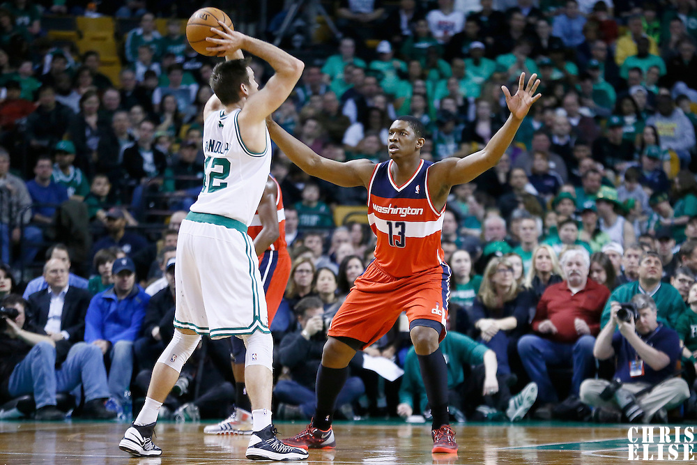 07 April 2013: Washington Wizards power forward Kevin Seraphin (13) defends on Boston Celtics power forward Shavlik Randolph (42) during the Boston Celtics 107-96 victory over the Washington Wizards at the TD Garden, Boston, Massachusetts, USA.