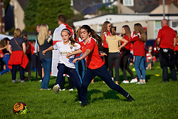 """NEWPORT, WALES - Thursday, August 30, 2018: Girls playing football at the FAW supporters' """"Fan Zone"""" before the FIFA Women's World Cup 2019 Qualifying Round Group 1 match between Wales and England at Rodney Parade. (Pic by Laura Malkin/Propaganda)"""