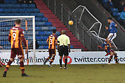 Oldham Athletic Forward, Aaron Holloway (10) scores to make it 2-0 goal  during the EFL Sky Bet League 1 match between Oldham Athletic and Bradford City at Boundary Park, Oldham, England on 3 February 2018. Picture by Mark Pollitt.