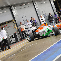 This years VJM06 Sahara Force India F1 coming out of the garage and heading down the Silverstone pitlane for it's first inaugural run. Unveiled at Silverstone Circuit, Northamptonshire, England on the 1st February 2013.  WAYNE NEAL | STOCKPIX.EU