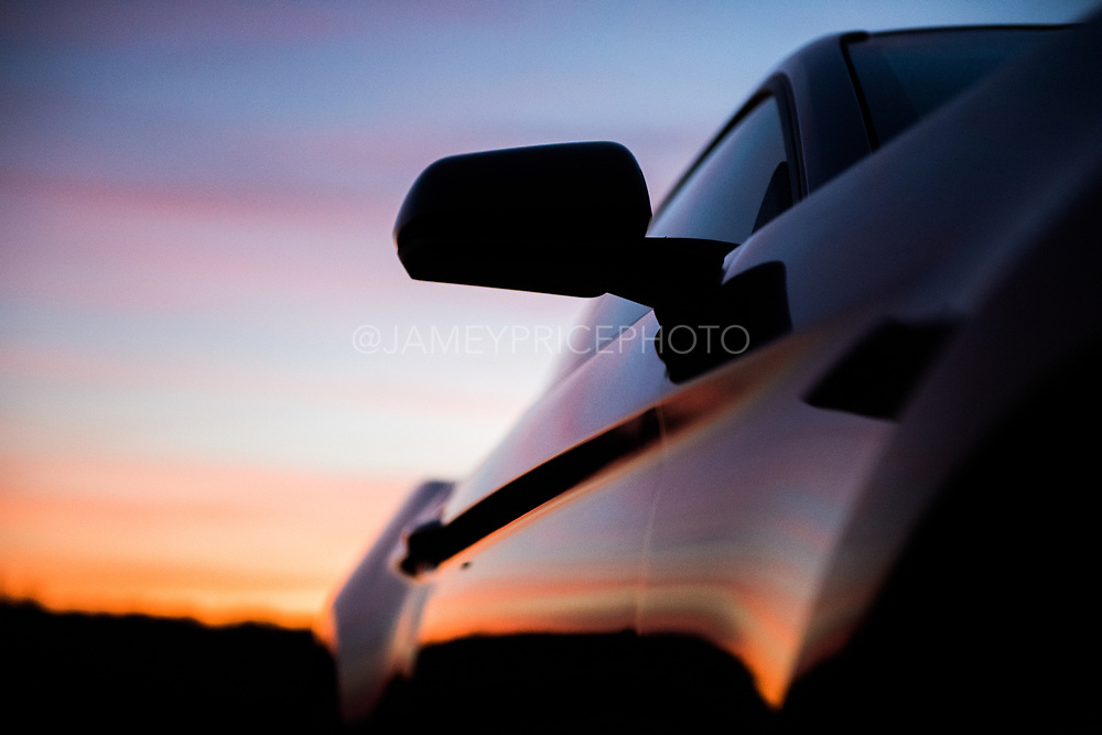 Ford Mustang at sunset