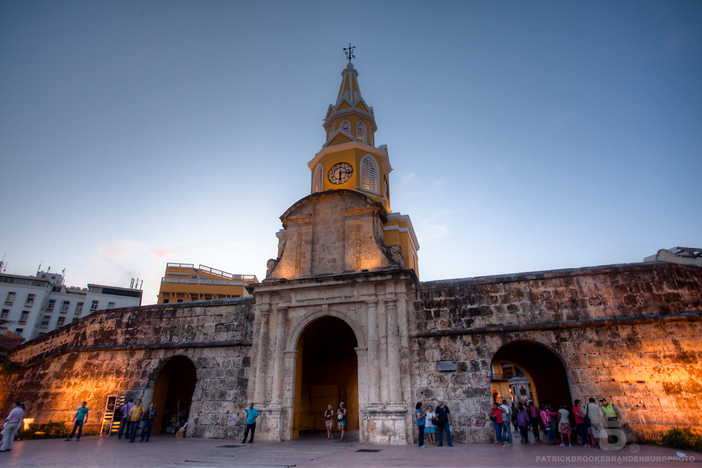 The Puerta del Reloj, or Clock Gate, is the offical entrance to downtown Cartagena, Colombia.