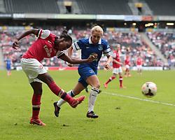 Arsenal Ladies forward Danielle Carter (9) fires past Everton Ladies defender Alex Greenwood (3)  - Photo mandatory by-line: Nigel Pitts-Drake/JMP - Tel: Mobile: 07966 386802 01/06/2014 - SPORT - FOOTBALL - LADIES - Stadium mk - Milton Keynes - Arsenal Ladies v Everton Ladies - The FA Women's Cup Final