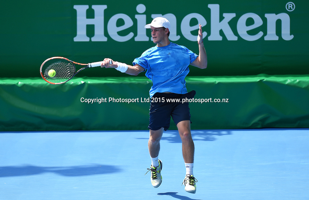 Argentina's Diego Schwartzman in action during his singles match on Day 3 at the Heineken Open. Festival of Tennis, ATP World Tour. ASB Tennis Centre, Auckland, New Zealand. Wednesday 14 January 2015. Copyright photo: Andrew Cornaga/www.photosport.co.nz