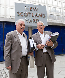 © Licensed to London News Pictures. 09/06/2015. London, UK. Tower Hamlets election petitioner ANDY ERLAM (Andrew Erlam) and businessman, DANNY MARKS speaking to the media outside New Scotland Yard in central London on 8th June 2015. Andy Erlam and Danny Marks delivered new files of alleged evidence of election and financial fraud in Tower Hamlets to the Metropolitan Police Commissioner, Sir Bernard Hogan-Howe. Photo credit : Vickie Flores/LNP