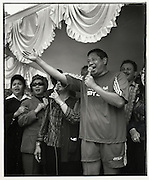 Susilio Bambang Yudhoyono (SBY) sings for his supporters - Independence Day Jakarta Indonesia August 17 2004