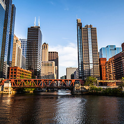 Picture of downtown Chicago Loop office buildings and skyscrapers at Lake Street Bridge along the Chicago River. Image is high resolution and was taken in 2012.
