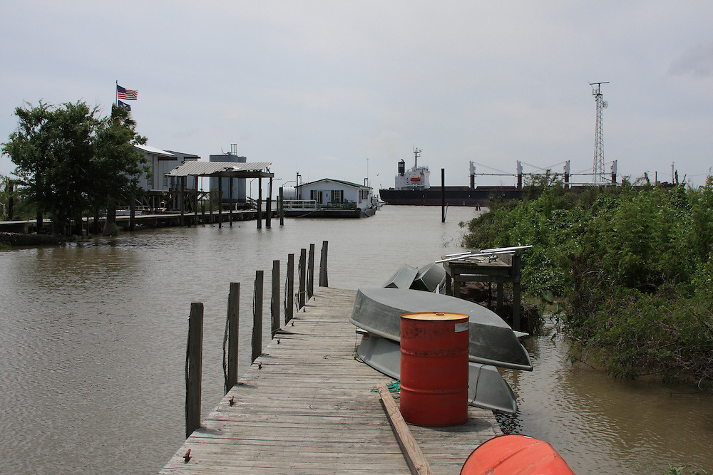 Pier 14, Pilottown, LA, Ship on Mississippi River