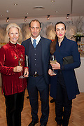 BUNNY CAMPIONE; TOMMASO CAMPIONE; TEODORA SARARU; , Bonhams Auction house hosts festive drinks to preview the first phase of the reconstruction of its Mayfair Headquarters - due for completion in 2013.<br /> Bonhams, 101 New Bond Street, London, 19 December 2011.