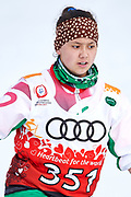 Schladming, Austria - 2017 March 20: Malika Kurbonboeva from SO Tajikistan competes in Cross Country Race while Special Olympics World Winter Games Austria 2017 in Ramsau am Dachstein on March 20, 2017 in Schladming, Austria.<br /> <br /> Mandatory credit:<br /> Photo by &copy; Adam Nurkiewicz / Mediasport<br /> <br /> Adam Nurkiewicz declares that he has no rights to the image of people at the photographs of his authorship.<br /> <br /> Picture also available in RAW (NEF) or TIFF format on special request.<br /> <br /> Any editorial, commercial or promotional use requires written permission from the author of image.<br /> <br /> Image can be used in the press when the method of use and the signature does not hurt people on the picture.