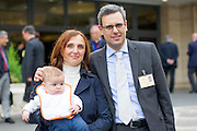 Vatican City oct 9th, 2015, extraordinary synod on family. A family attends to bishops meeting. In the picture little Davide, Patrizia and Massimo