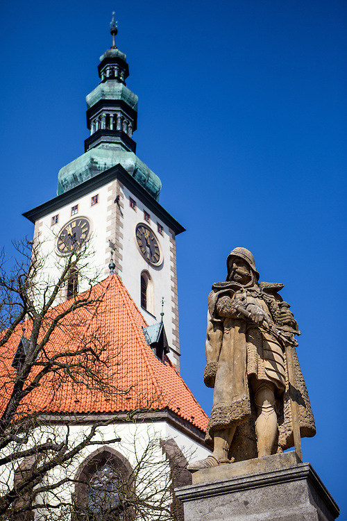 "Jan Zizka monument at the main square called ""Zizkovo Namesti"" with ""The Church of the Transfiguration of Our Lord"" in the back located at the South Bohemian city of Tabor. Jan Zizka z Trocnova a Kalicha (English: John Zizka of Trocnov and the Chalice) (c. 1360–1424), was a Czech general and Hussite leader, follower of Jan Hus, and born in the small village of Trocnov (now part of Borovany) in Bohemia, into a gentried family. He was nicknamed ""One-eyed Žižka."""
