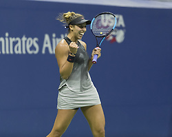 September 6, 2017 - New York, New York, United States - Madison Keys of USA celebrates victory against Kaia Kanepi of Estonia at US Open Championships at Billie Jean King National Tennis Center  (Credit Image: © Lev Radin/Pacific Press via ZUMA Wire)