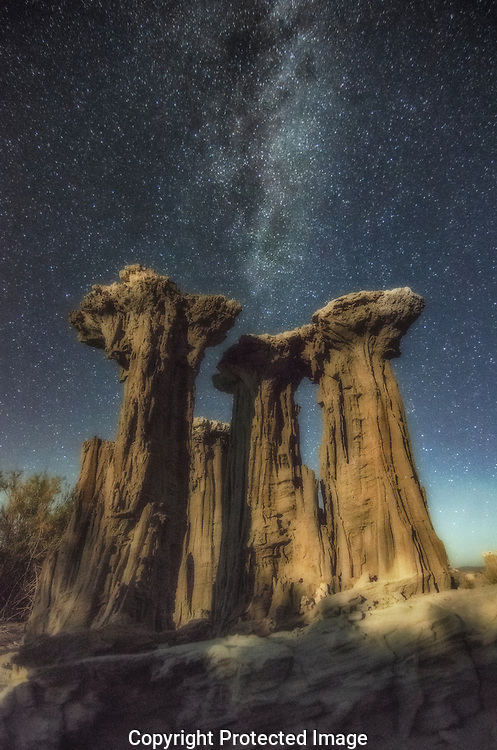 Delicate sand tufa at night near Mono Lake, California.