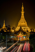 Sure Pagoda at night, Yangon, Rangoon, Myanmar