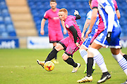 Hartlepool player Michael Woods looks to beat a defender in the box in the first half during the EFL Sky Bet League 2 match between Colchester United and Hartlepool United at the Weston Homes Community Stadium, Colchester, England on 25 February 2017. Photo by Ian  Muir.