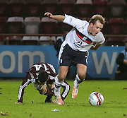 Dundee's Gary Irvine breaks away from Hearts' Jamie Walker  - Hearts v Dundee in the Clydesdale Bank, Scottish Premier League at Tynecastle.. - © David Young - www.davidyoungphoto.co.uk - email: davidyoungphoto@gmail.com