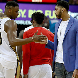 Jan 23, 2017; New Orleans, LA, USA; New Orleans Pelicans forward Anthony Davis celebrates with forward Terrence Jones (9) during the second quarter of a game against the Cleveland Cavaliers at the Smoothie King Center. The Pelicans defeated the Cavaliers 124-122. Mandatory Credit: Derick E. Hingle-USA TODAY Sports