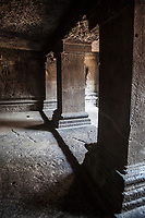 Pateleshwar Cave Temple in Pune, India. This Hindu temple was cut from solid rock in the 8th century and is today dedicated to the Hindu God, Shiva, the destroyer of evil.