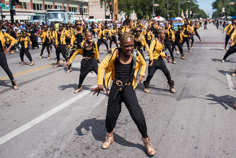 The dance team Geek Squad performs at the Bud Billiken Parade on August 12, 2017.