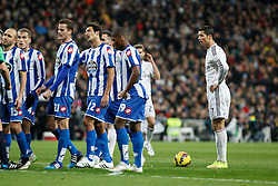 14.02.2015, Estadio Santiago Bernabeu, Madrid, ESP, Primera Division, Real Madrid vs Deportivo La Coruna, 23. Runde, im Bild Real Madrid&acute;s Cristiano Ronaldo (R) // during the Spanish Primera Division 23rd round match between Real Madrid vs Deportivo La Coruna at the Estadio Santiago Bernabeu in Madrid, Spain on 2015/02/14. EXPA Pictures &copy; 2015, PhotoCredit: EXPA/ Alterphotos/ Victor Blanco<br /> <br /> *****ATTENTION - OUT of ESP, SUI*****