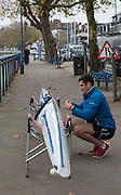 Putney-Chiswick.  Greater    London, UK. Mike LAWRENCE, rigs his boat before competing in the 2015 Wingfield Scull Race, at Putney, over the Championship Course, River Thames  Thursday  12/11/2015 <br /> <br /> [Mandatory Credit: Peter SPURRIER: Intersport Images]