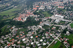 Town Radovljica from air, on September 21, 2005, Slovenia. (Photo by Vid Ponikvar / Sportal Images)