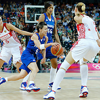 09 August 2012: France Celine Dumerc attacks the basket during 81-64 Team France victory over Team Russia, during the women's basketball semi-finals, at the 02 Arena, in London, Great Britain.
