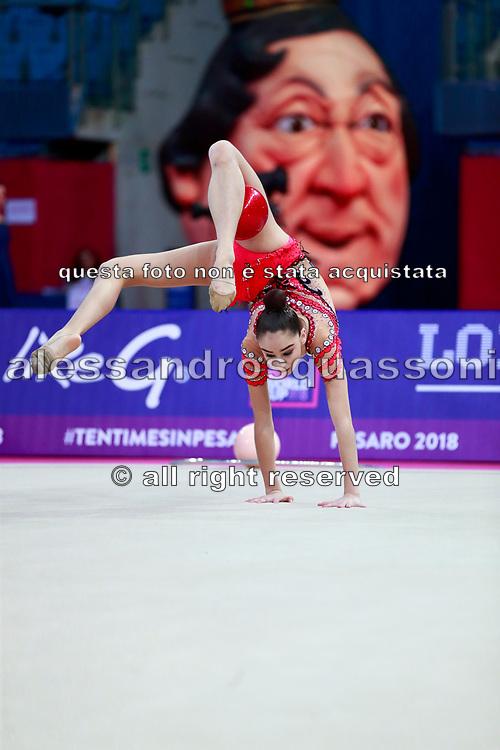Adilkhanova Alina during qualifying at ball in Pesaro World Cup at Adriatic Arena on April 13, 2018. Alina is a Kazakhstan rhythmic gymnast born on September 26,2001 in Karaganda.