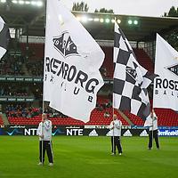 Rosenborg v St Johnstone....18.07.13  UEFA Europa League Qualifier.<br /> Rosenborg flag bearers<br /> Picture by Graeme Hart.<br /> Copyright Perthshire Picture Agency<br /> Tel: 01738 623350  Mobile: 07990 594431
