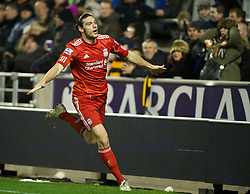 WOLVERHAMPTON, ENGLAND - Tuesday, January 31, 2012: Liverpool's Andy Carroll celebrates scoring the first goal against Wolverhampton Wanderers during the Premiership match at Molineux. (Pic by David Rawcliffe/Propaganda)