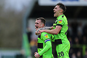 Forest Green Rovers Lee Collins(5) scores a goal 3-0 and celebrates with Forest Green Rovers Paul Digby(20) during the EFL Sky Bet League 2 match between Forest Green Rovers and Yeovil Town at the New Lawn, Forest Green, United Kingdom on 16 February 2019.