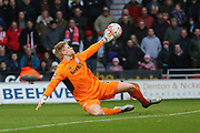 Fine ave from Stoke City goalkeeper Jakob Haugaard but still leads to Doncaster Rovers forward Nathan Tyson  goal during the The FA Cup third round match between Doncaster Rovers and Stoke City at the Keepmoat Stadium, Doncaster, England on 9 January 2016. Photo by Simon Davies.