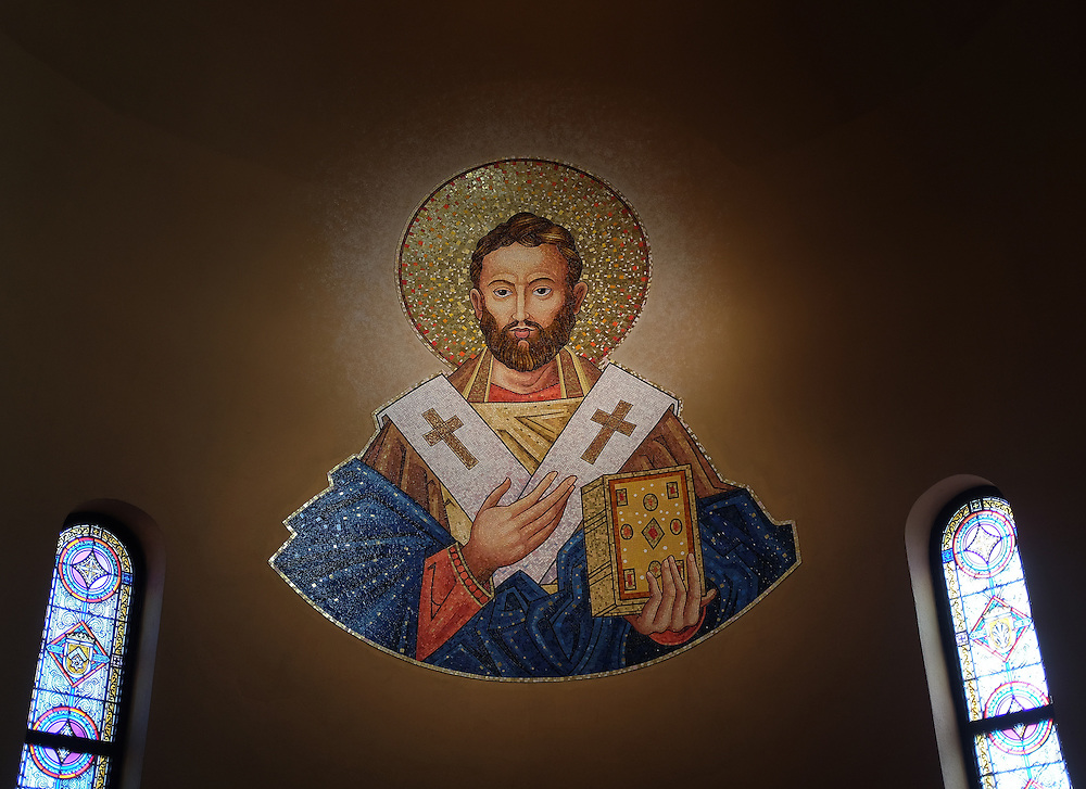 A mosaic of St. Augustine appears on the west narthex of the Cathedral of Christ the King in Superior, Wis. St. Augustine is patron saint of the Diocese of Superior. (Photo by Sam Lucero)
