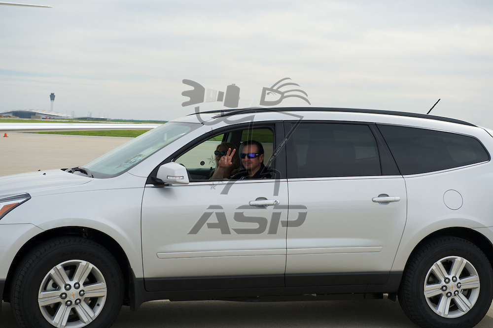 Indianapolis, IN - May 24th, 2014:  Kurt Bush landing at Million Air airport in Indianapolis, IN.  <br /> <br /> MANDATORY PHOTO CREDIT:  Walter G. Arce, Sr. KBI/ActionSportsInc.com