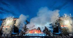 14.05.2015, Red Bull Ring, Spielberg, AUT, AC DC, Rock or Bust Tour, Spielberg, Konzert, im Bild die Bühne mit Lead-Gitarrist Angus Young und Sänger Brian Johnson. Die australische Band AC/DC gastiert im Zuge ihrer Rock or Bust World Tour am 14. Mai in Spielberg // AC/DC perform on stage during their Rock or Bust Tour at the Red Bull Ring, Spielberg, Austria on 2015/05/14. EXPA Pictures © 2015, PhotoCredit: EXPA/ Sandro Zangrando