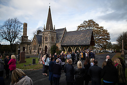 © Licensed to London News Pictures . 30/10/2018. Accrington , UK . Crowds gather ahead of the service . The funeral of Gemma Nuttall at Accrington Crematorium . Gemma died of cancer despite initially seeing off the disease after radical immunotherapy treatment in Germany , paid for with the fundraising support of actress Kate Winslet , who read of Gemma's plight on a crowdfunding website shortly after she lost her own mother to cancer . Permission to photograph given by Gemma's mother , Helen Sproates . Photo credit : Joel Goodman/LNP