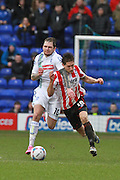 James Norwood and James Rowe during the Vanarama National League match between Tranmere Rovers and Cheltenham Town at Prenton Park, Birkenhead, England on 20 February 2016. Photo by Antony Thompson.
