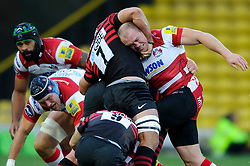 Gloucester Inside Centre (#12) Mike Tindall is held in a headlock by Saracens Flanker (#7) Will Fraser during the first half of the match - Photo mandatory by-line: Rogan Thomson/JMP - Tel: Mobile: 07966 386802 02/12/2012 - SPORT - RUGBY - Vicarage Road - Watford. Saracens v Gloucester Rugby - Aviva Premiership