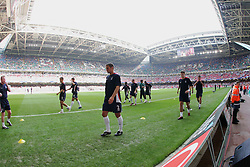 CARDIFF, WALES - SATURDAY, SEPTEMBER 3rd, 2005: England players warm-up before the World Cup Qualifier at the Millennium Stadium. (Pic by David Rawcliffe/Propaganda)