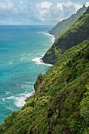 The Kalalau Trail on the Na Pali Coast of the north shore of Kauai, Hawaii.