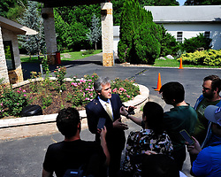 Y. Alp Aslandogan, a spokesperson for Fetullah Gulen speaks to members of the media outside the clerics Pocono Mountain compound Saturday, July 16th, 2016 in Saylorsburg, Pennsylvania.