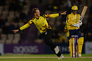 Max Waller of Somerset celebrates the wicket of Tom Alsop  during the NatWest T20 Blast South Group match between Hampshire County Cricket Club and Somerset County Cricket Club at the Ageas Bowl, Southampton, United Kingdom on 18 August 2017. Photo by Dave Vokes.