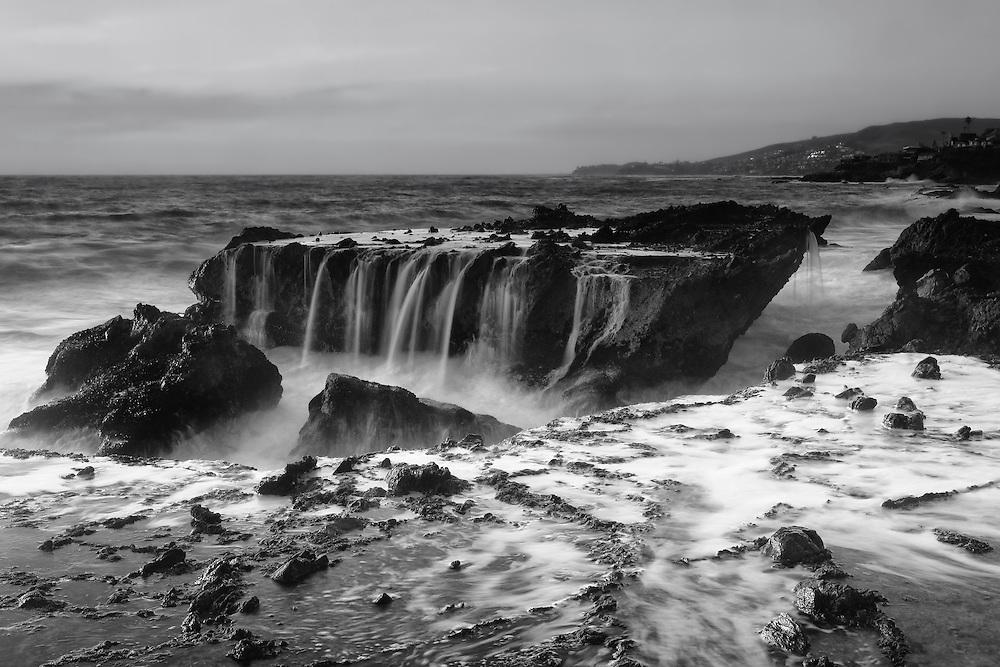 Victoria Beach Rock Shelf Waterfall - Dusk - Black & White